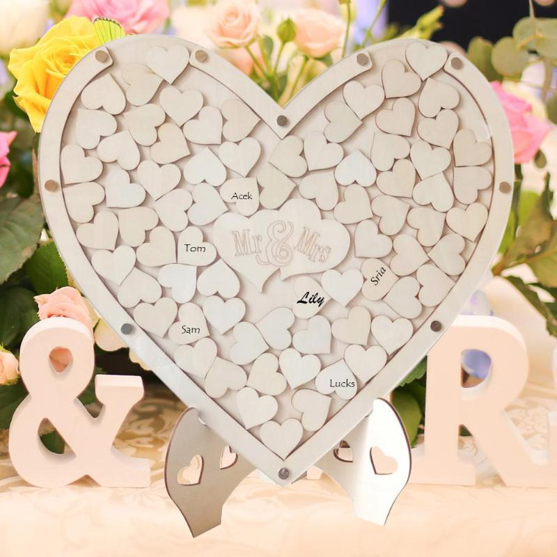 Romantic Heart Shape Wedding Signature Puzzle Memory Guest Book For Wedding Decoration Party Supplies
