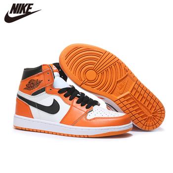 Nike- 2020 Air Jordan 1 męskie obuwie do koszykówki malina błyskawica pomarańczowy średni krój podświetlony Mans oryginalne CA3011-0278 tanie i dobre opinie VN (pochodzenie)