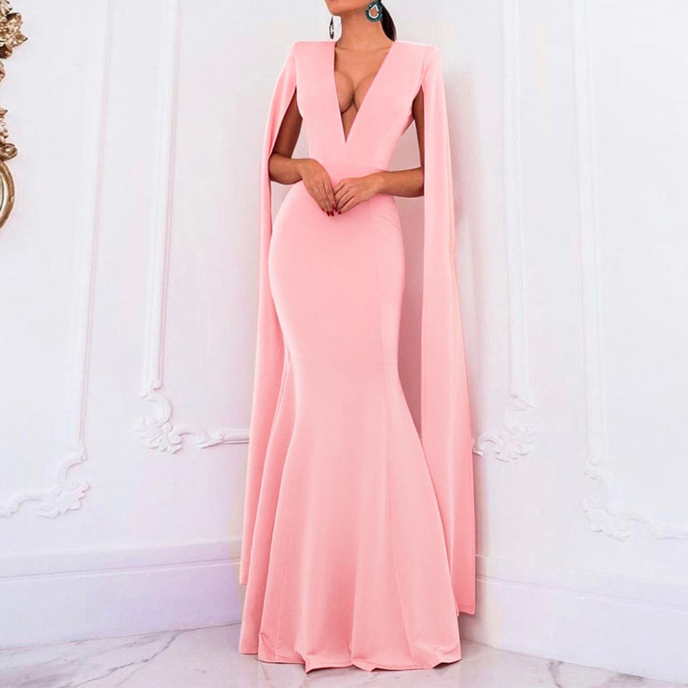 Sexy Deep V Neck Backless Evening Party Dress Long Mermaid Cape Long Sleeve Women Dress Luxury Pink Blue Black Slim Maxi Dress