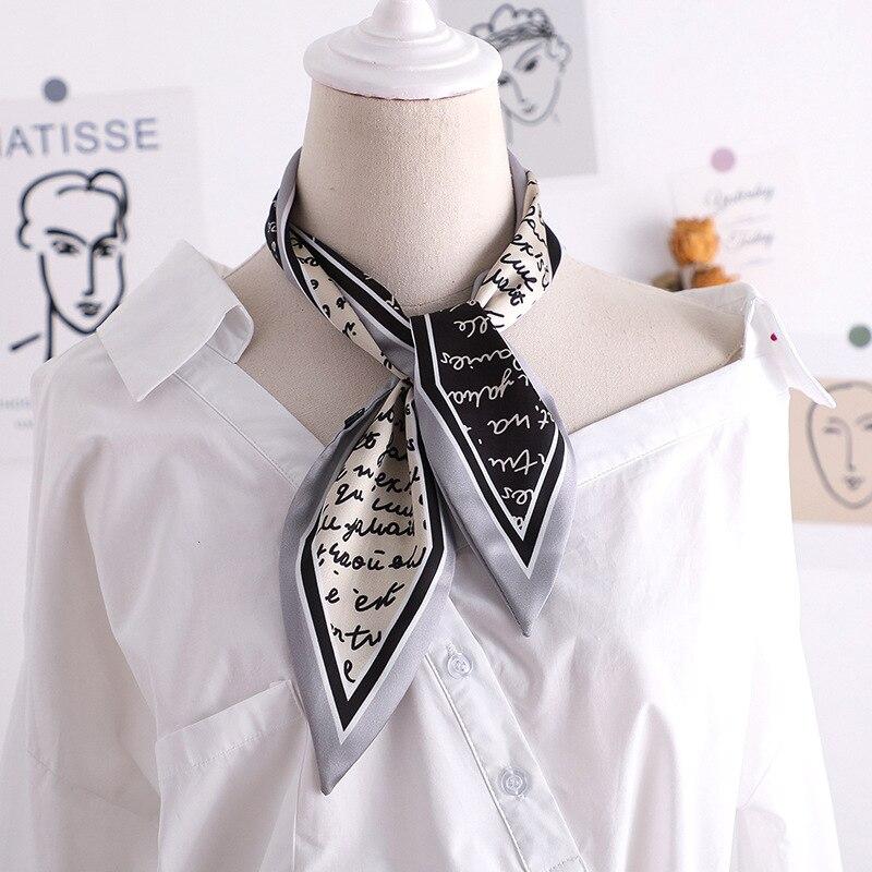 2020 New Letter Print Women Small Silk Scarf  kerchief Handle Bag Ribbons Female Head Scarves Foulard black 90*10cm