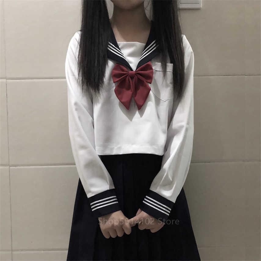 Ortodoxo branco uniforme da escola japonês coreano classe marinha jk marinheiro saias estudantes kawaii camisa de manga longa anime cosplay