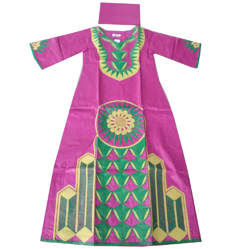 MD Embroidered Flower African Dresses For Women 2019 Bazin African Clothes Lady Dresses With Head Wrap Pink Long Dress Dashiki