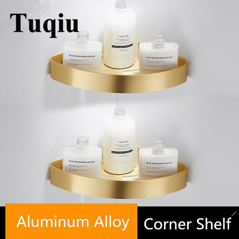 Tuqiu Corner Shelf Wall Mounted  Aluminum Bathroom Soap Dish Bath Shower Shelf Brushed Gold Bath Shampoo Holder Basket Holder