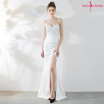2019 Sling Strapless Sexy Evening Dresses Long Rhinestones Crystal Satin Party Gowns High Split Cocktail Prom Gowns For Ceremony