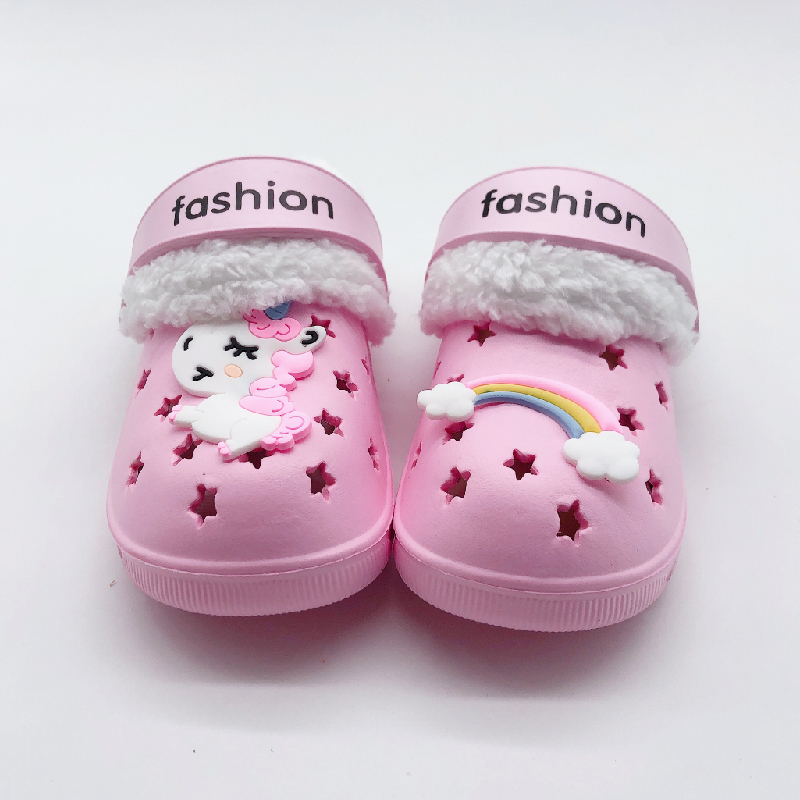 New Winter Summer Cartoon Kids Slippers Toddler Boys Indoor Shoe Baby Girl Fur Croc Cotton Flip Flop Warm House Children Slipper