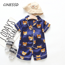 New Summer Children Pajamas Cute Cartoon Sleepwear for Baby Boy Girls Set Clothing 2-7Y Kids Suits Shirt+Shorts 2pcs