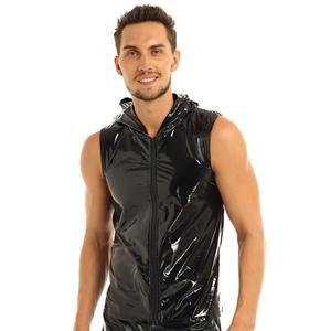 Image 3 - Erkek Punk Moda Kulübü Üstleri Islak Görünüm Patent Deri kolsuz kapüşonlu üst Clubwear Hip Hop Tank Top Fermuar Kapatma ile Erkek Giyim