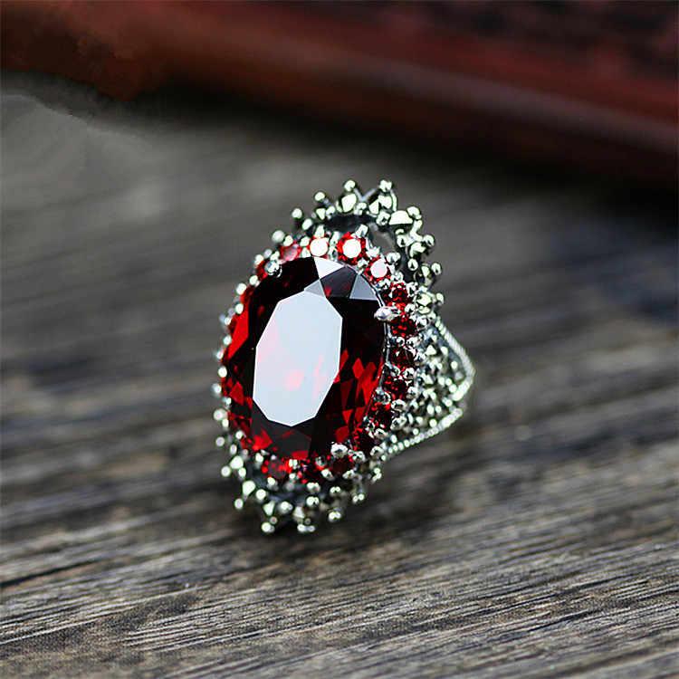 VINTAGE ชายหญิง Blue Red Zircon แหวนหิน Luxury 925 เงินสเตอร์ลิงรักหมั้นแหวนผู้ชายผู้หญิงรูปไข่ขนาดใหญ่งานแต่งงานแหวน
