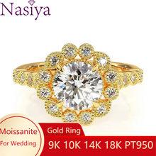 NASIYA çiçek şekli Moissanite ışık halkası saf 14K altın 1.5ct 7.5mm EF renk nişan yüzük kadınlar düğün hediyesi güzel takı
