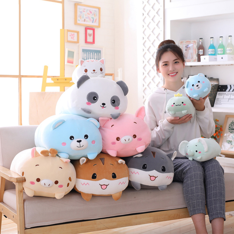 Animal Sweet Dinosaur&Pig&Cat&Bear Kawaii Plush Toy Soft Cartoon Panda&Hamster&Elephant&Deer Stuffed Doll Baby Pillow Gift Toys(China)