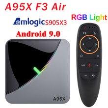 Luz rgb android 9.0 smart tv caixa amlogic s905x3 a95x f3 ar 4gb 64gb wifi 4k smart tvbox a95xf3 conjunto caixa superior 4k media player