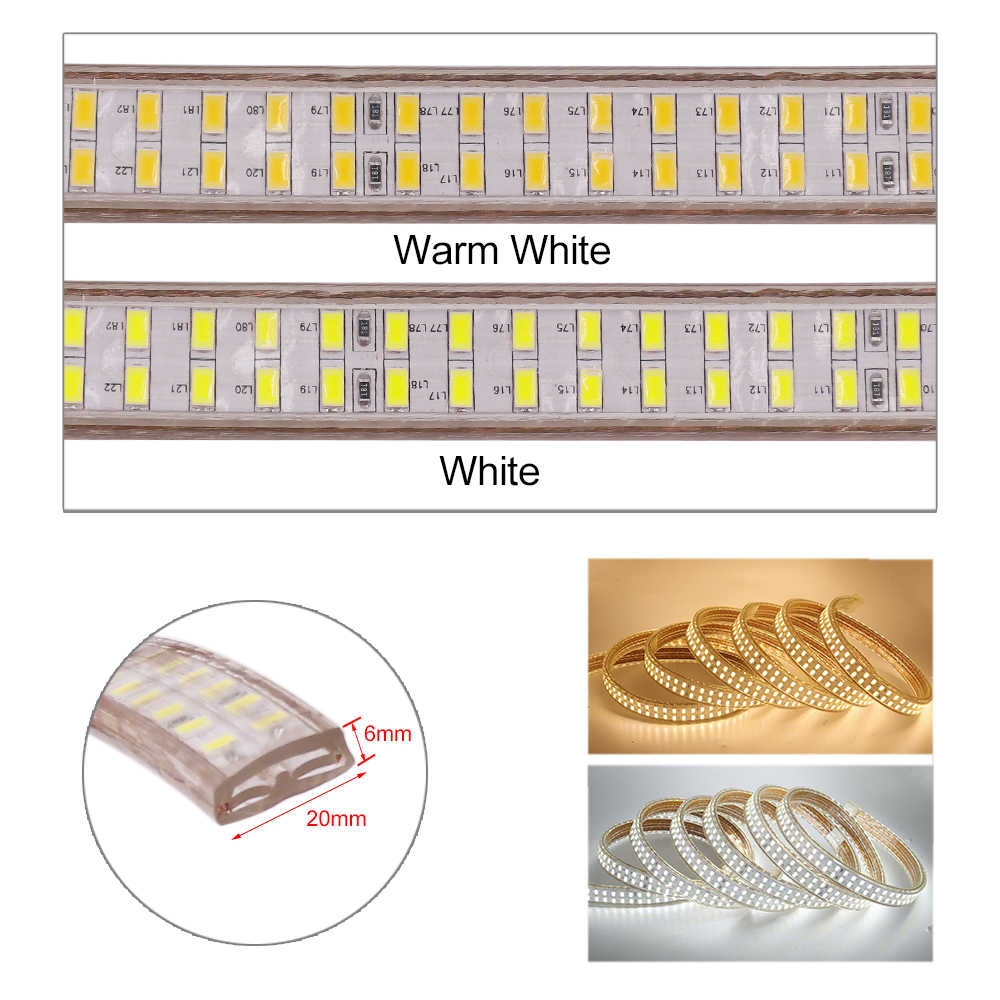 220 v waterproof a luz de tira conduzida smd5730 240 leds/m tira conduzida flexível 5730 lâmpada de luz conduzida da fita do diodo da fita com interruptor fora/on
