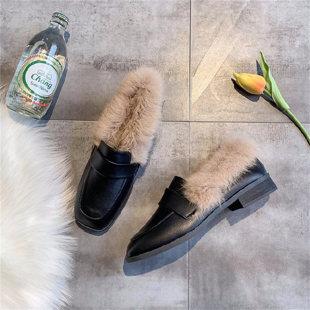 Autumn winter casual women shoes fluffy warm fluffy lining fashion black brown square toe women's shoes 33