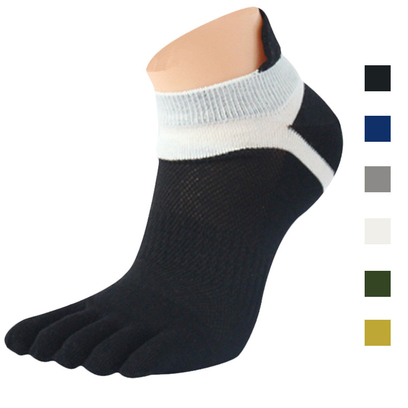 1 Pair Men Solid Color Mesh Meias Sports Running Five Finger Toe   Socks   Male Patchwork Fashion Casual Short   Socks