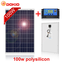 Dokio 100W Polycrystalline Silicon Bảng Điều Khiển Năng Lượng Mặt Trời Trung Quốc 18V 1012X660X30MM Kích Thước Bảng Điều Khiển Năng Lượng Mặt Trời Hàng Đầu chất Lượng Pin Năng Lượng Mặt Trời Trung Quốc