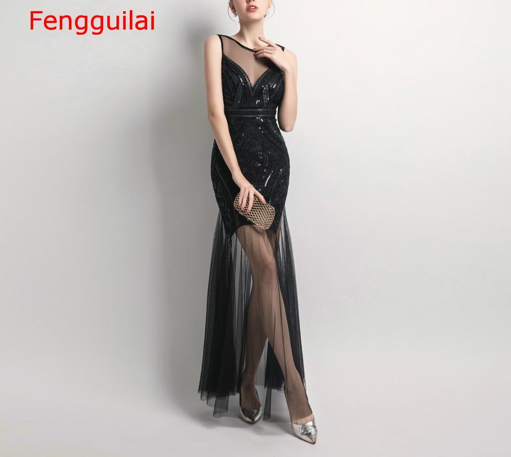 Lantejoulas beading vestidos sereia longo formal vestido de festa 2020 novo estilo - 4
