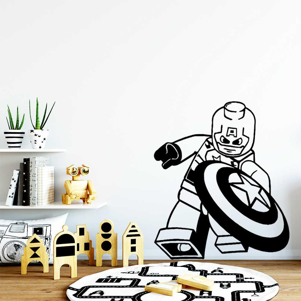 الإبداعية ليغو أمريكا كابتن الجدار ملصق ورق جدران من الفينيل للبنين غرفة الطفل صور مطبوعة للحوائط الفن جدارية ملصقات غرفة نوم ملصق مائي