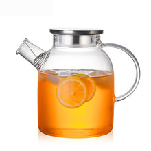 Чайник стеклянный термостойкий с бамбуковой крышкой 1000/1800