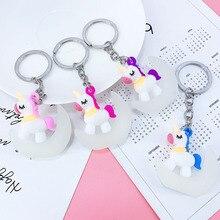 New PVC Crescent Unicorn Keychain Pendant Girl Bag Car