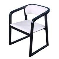 Simples e moderno jantar cadeira encosto de madeira maciça casa restaurante do hotel com braço escritório cinza fezes|  -
