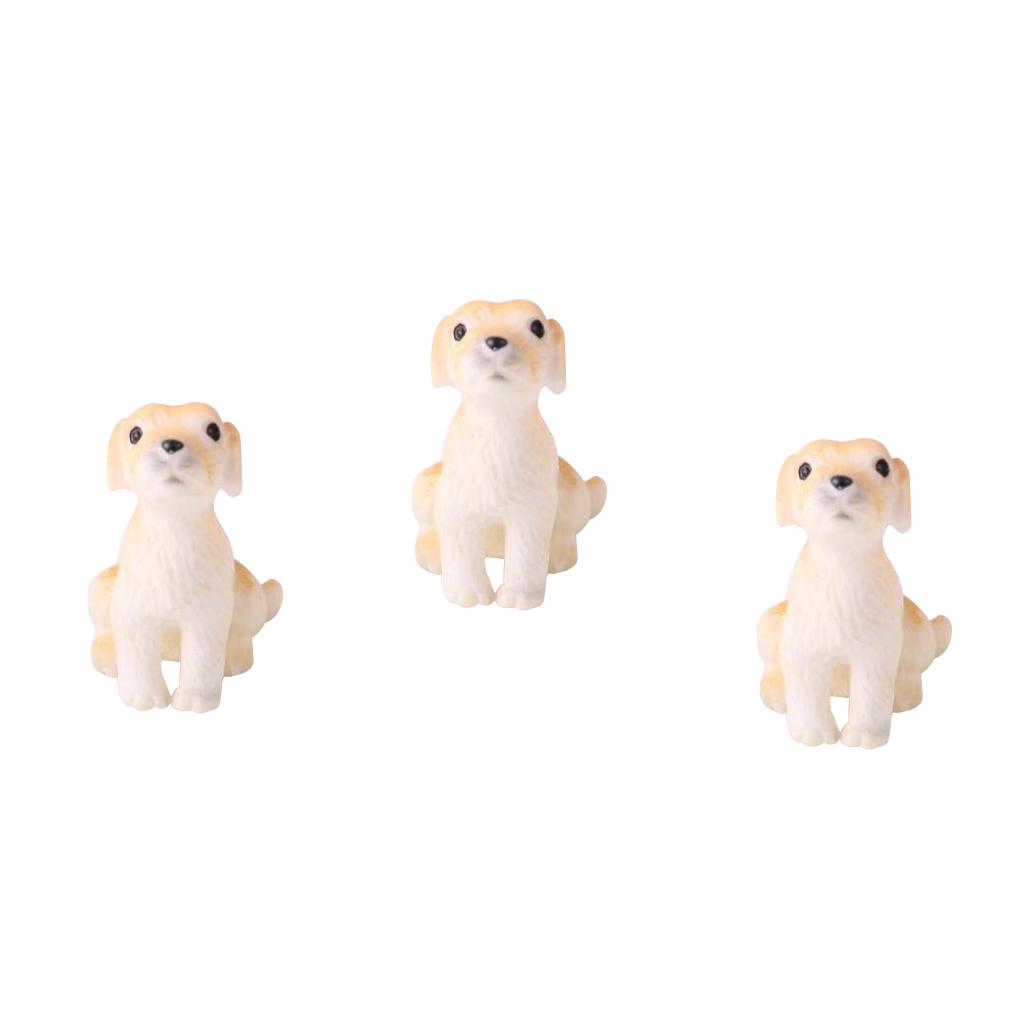 High Quality 1:12 Scale Dollhouse 3pcs Miniature Pet Dogs for Garden Yard Decoration Classic Pretend Play Toys Great Collectible
