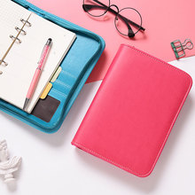 лучшая цена A6 Zipper Spiral Binder leather Planner Travelers Noteboook Agenda Organizer Stationery School Supplies Notebooks and journals