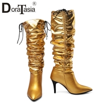 DORATASIA New Autumn Luxury Brand Hot Sale Genuine Leather mid-claf Boots Women 2019 Pleated High Heel Shoes Woman 34-43