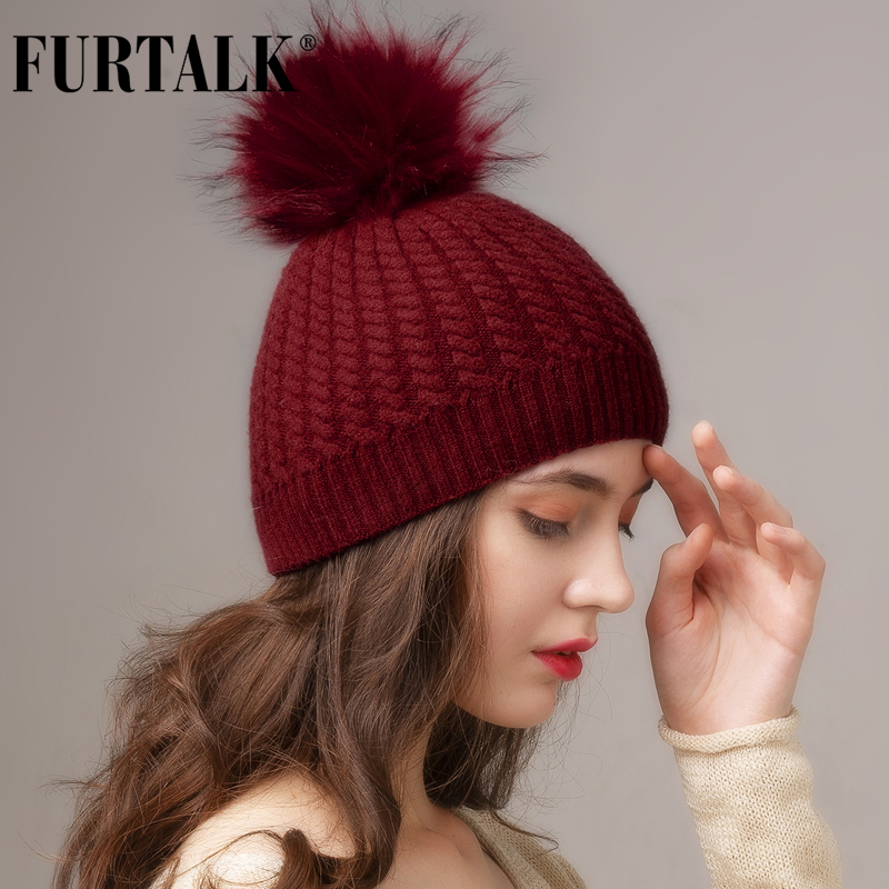 FURTALK Winter Hat For Women Pompom Beanie Hat Knitted Double Layer Soft Warm Hats For Female Ladies Korean Red Black Winter Cap