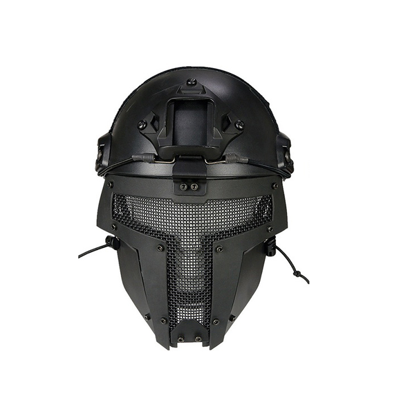 Novo ao ar Capacete de Moto Ventilador do Exército Livre Preto Airsoft Capacete Malha Airsoftsports Máscara Facial Completa Mod. 220725