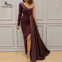 Formal Prom Evening Gown Robe De Soiree Saudi Arabic Evening Dress 2019 New Long Mermaid One Shoulder Beading with Slit