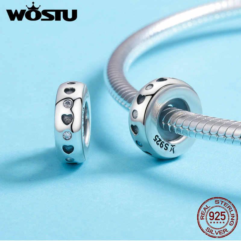WOSTU Real 925 เงินสเตอร์ลิง 20 รูปแบบหัวใจและเคลียร์ CZ Spacer Stopper BEAD Fit Original WST Charm สร้อยข้อมือเครื่องประดับ DXC593