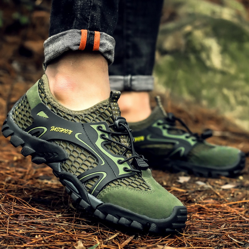 LION SCREAM Hiking Shoes Summer Men Quick Dry Water Shoes Mesh Beach Outdoor Hiking Sandals Trekking Shoes Trail Footwear 39-50