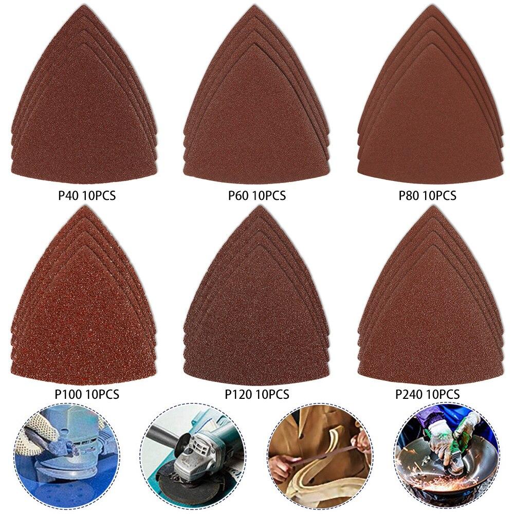 60PCS Triangle Sandpaper Detail Sander Sandpaper 40/60/80/100/120/240 Multi-function Tool Sandpaper Abrasive Tools