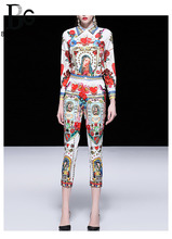 Baogarret Runway Madonna Angel Print Fashion Pants Set  Womens Long Sleeve Blouse + Ankle Length Autumn Two Piece