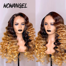 WOWANGEL 13X6 Lace Front Human Hair Wigs Colored Ombre 1B/27 Honey Blonde Human Hair Wigs Pre-Plucked Loose Deep Wave Wavy Remy(China)