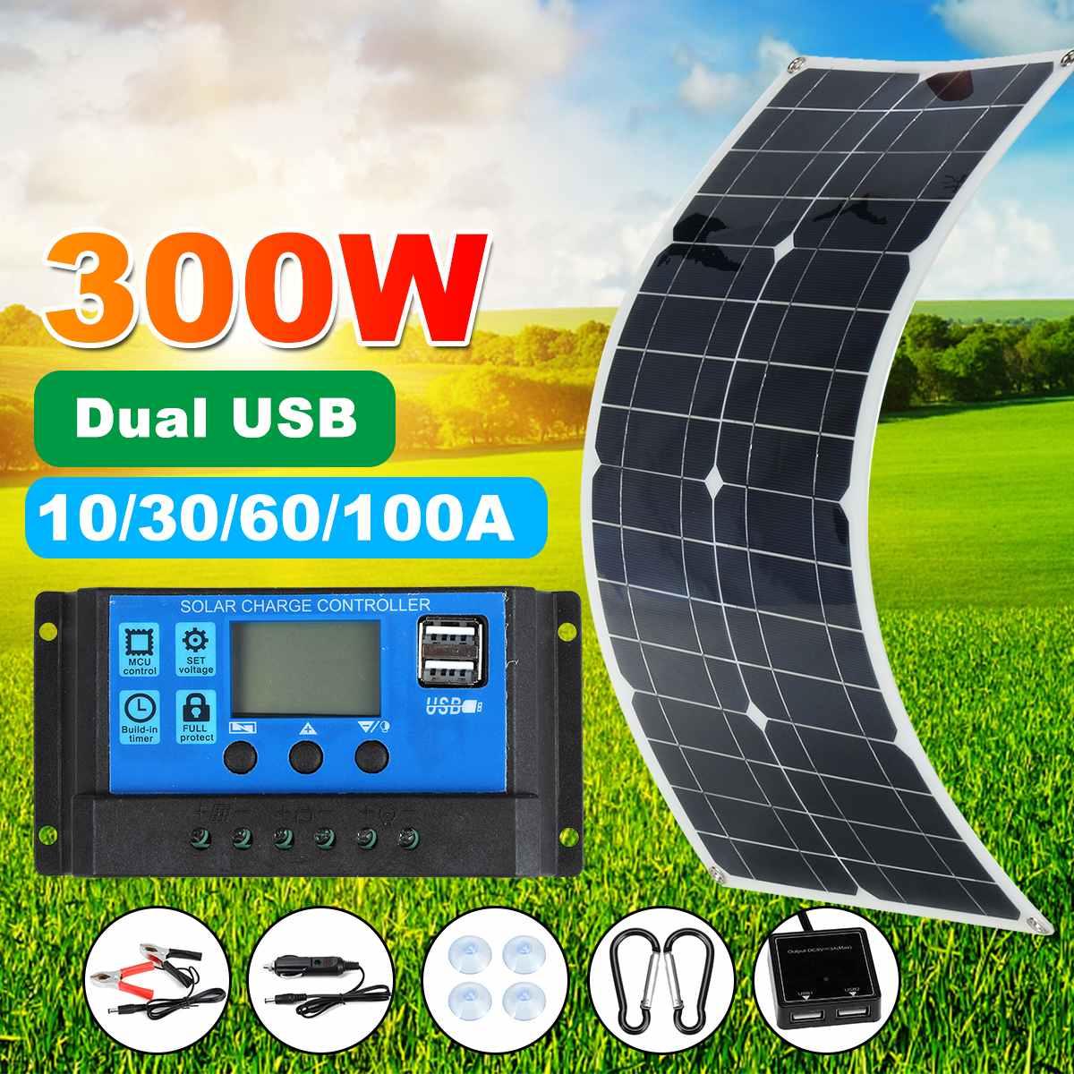 Водонепроницаемый гибкий комплект панелей солнечных батарей 300 Вт полный двойной 12/5 В постоянного тока USB с 10/30/60A/100A Солнечный контроллер со...
