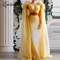 Dubaï robes De soirée moyen-orient femmes col en V célébrité robes De fête 2020 sur mesure manches coiffées robes De bal Robe De soirée