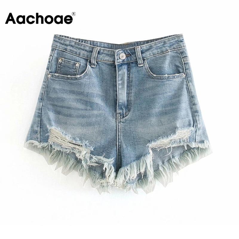 Aachoae Women Summer Ripped Shorts Jeans High Waist Streetwear Mom Shorts Casual Zipper Fly Denim Short With Tassel Pockets