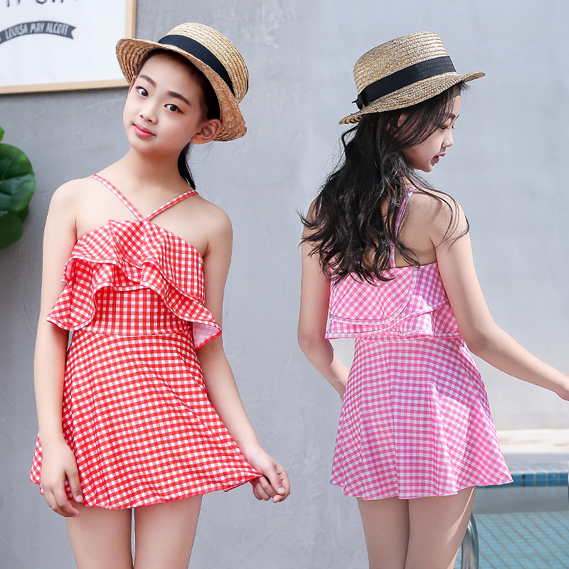 2019 New Style Children Holiday Bathing Suit GIRL'S Princess Cute Fashion Plaid Girls' Two-piece Swimsuit Wholesale