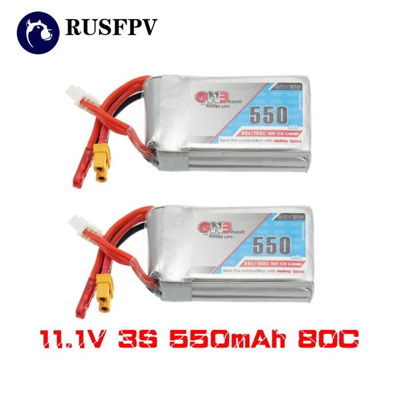 2 pces gnaoneng gnb 11.1 v 550 mah 80/160c 3 s lipo bateria jst xt30 para micro emax babyhawk fpv racing cine whoop betafpv zangão