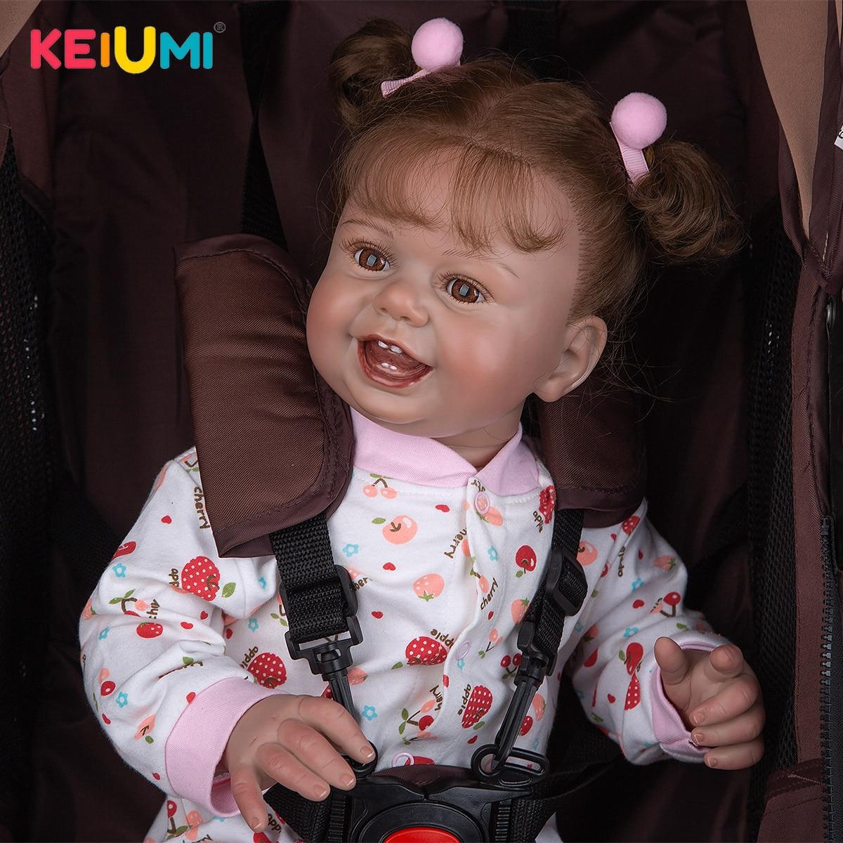 27 zoll Glücklich Lächeln Reborn Baby Puppen Kleinkind Tuch Körper Hand Paitning Verwurzelt Haar Newbron Puppe Spielzeug Für Kinder Geburtstag geschenke