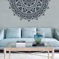 110cm 70cm estêncil estêncil para paredes grande modelo de pintura reutilizável piso telha mandala indiano árabe étnico redondo s052