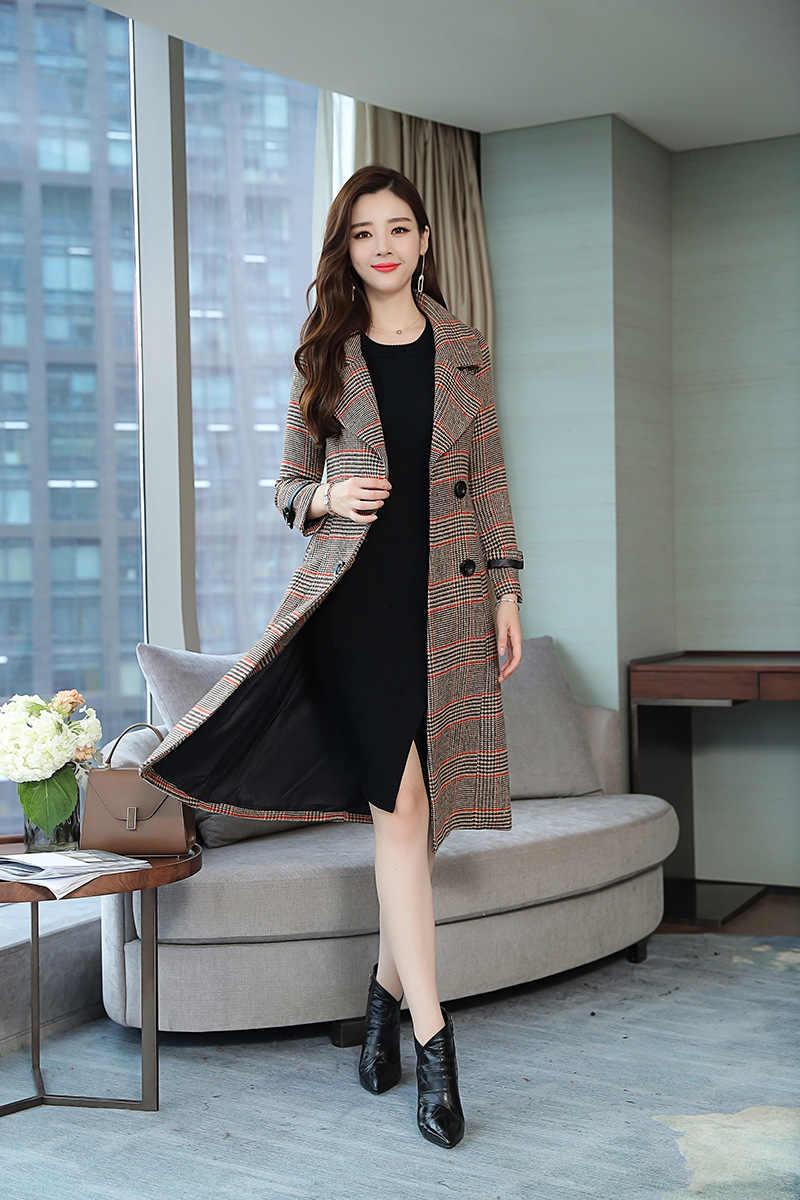 2019 韓国のファッション格子縞のウインドブレーカー女性ダブルブレスト冬秋カシミヤウールコート