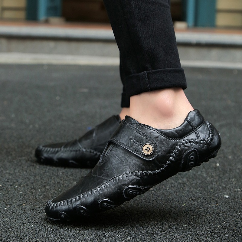 Large Size 38-47 New Fashion Leather Mens Shoes Luxury Loafers Moccasins Breathable Slip On Male Shoes Outdoor Driving Shoes W5