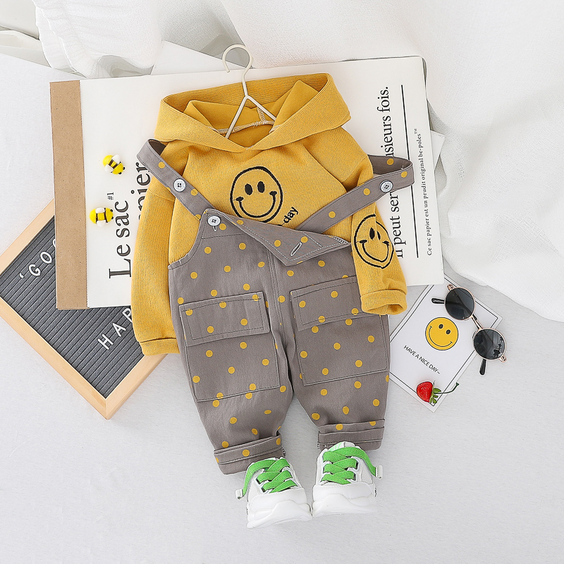 HYLKIDHUOSE 2020 Spring Baby Girls Boys Clothing Sets Toddler Infant Clothes Hooded T Shirt Overalls Children Vacation Clothing