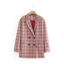 Casual Plaid womens jackets Autumn new long-sleeved pink plaid ladies blazer Vintage loose large size jacket female 2019