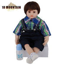 60CM Cloth Body Reborn Baby Realistic Shirt Bib Short Boy Doll Newborn Babies Toddler Bebe Silicone Toy Child Birthday Xmas Gift(China)
