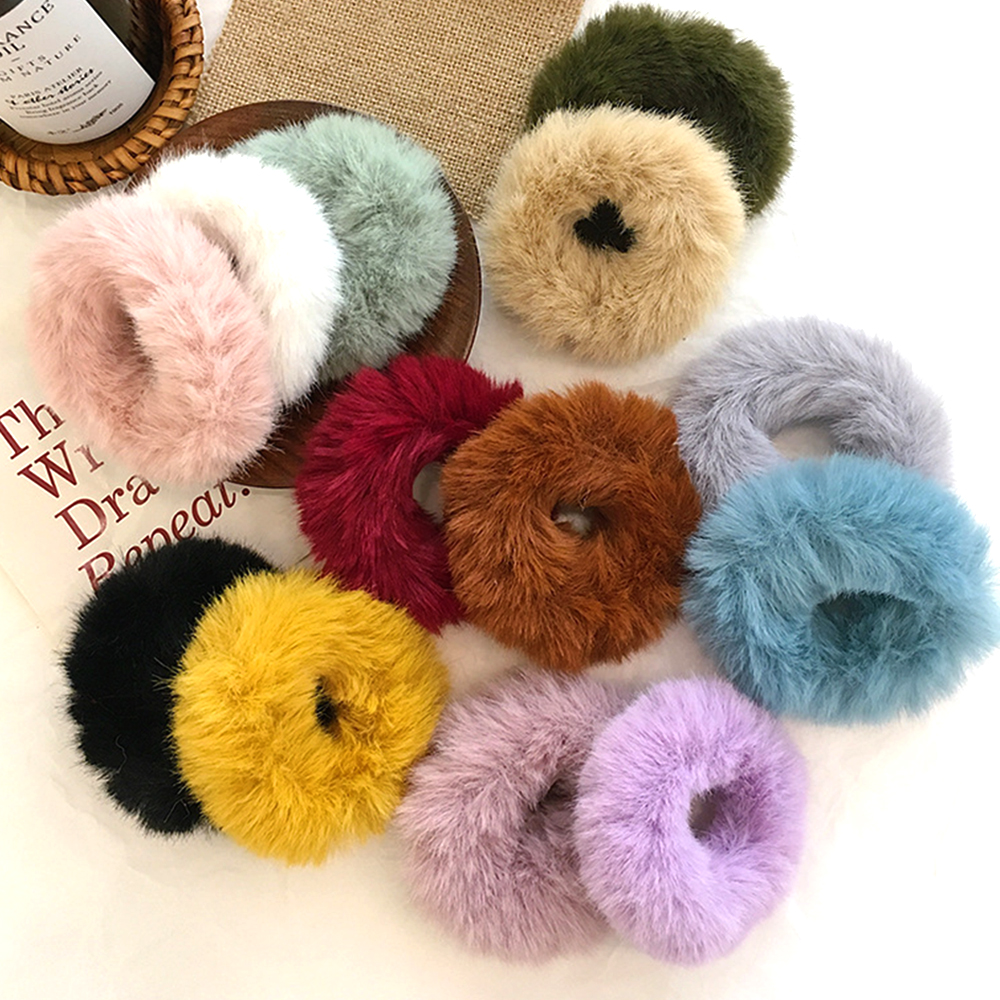 Fashion Girls Elastic Faux Rabbit Fur Hair Scrunchie Hair Rope Ponytail Holder Elastic Soft Plush Hair Ring Hair Accessories