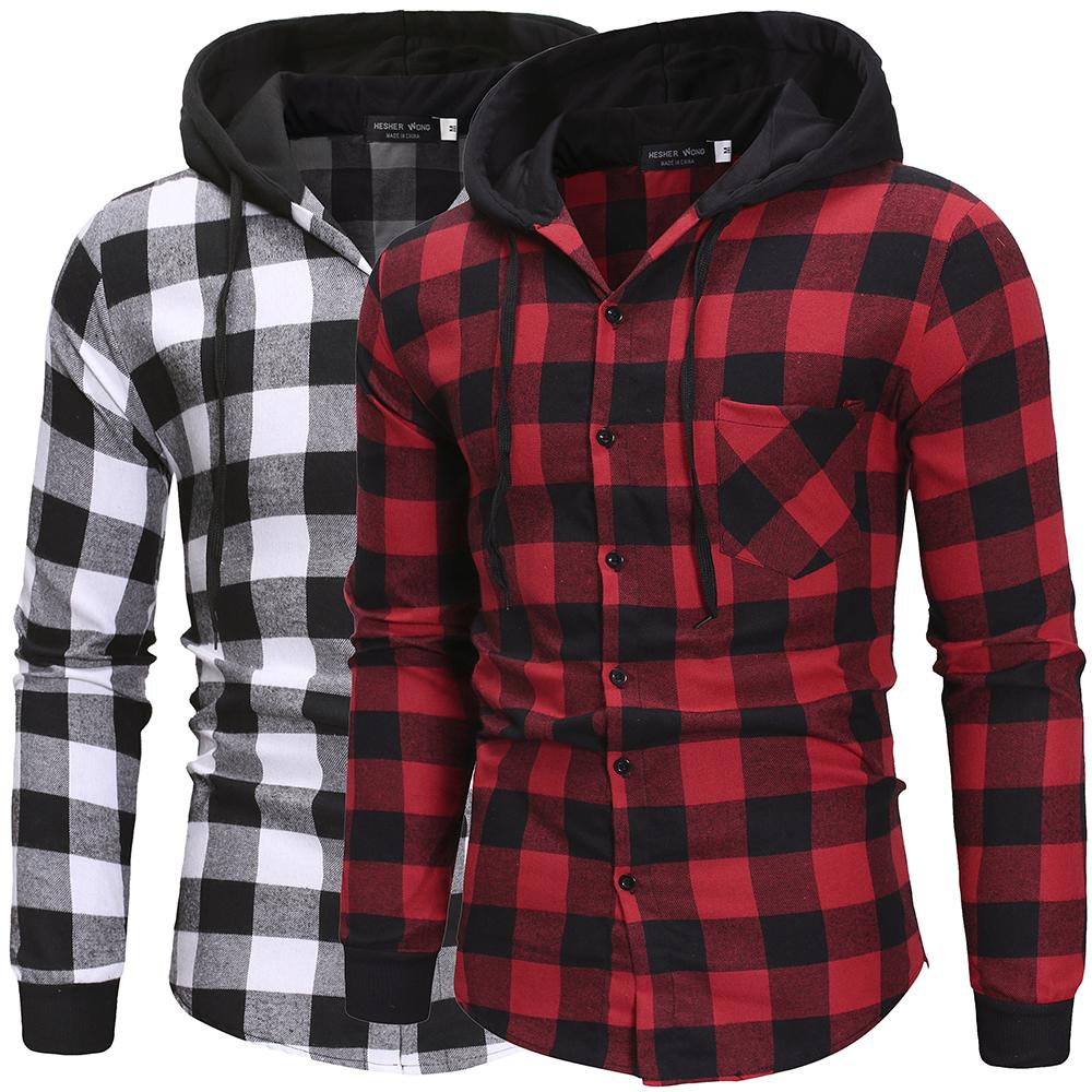 2020Men's Shirts Autumn Fashion Casual Plaid Shirts Long Sleeve Cotton High Quality Pullover Hooded Shirt Winter Mens Top Blouse