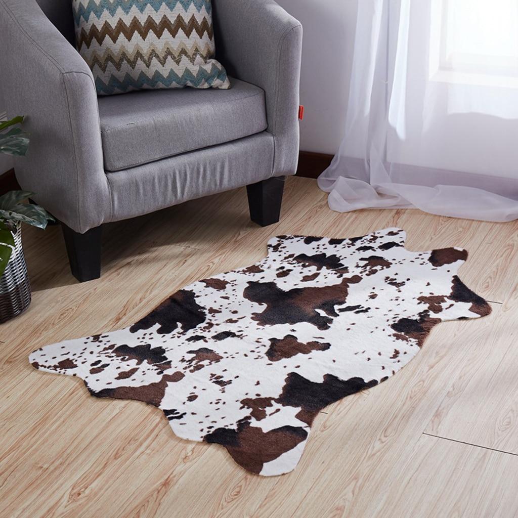 Soft Animal Skin Decor Faux Fur Rug Non-slip Mat Carpet Home Decoration - Cow/Zebra Available